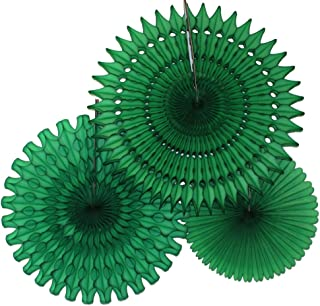 product image for Set of 3 Honeycomb Fans, Dark Green (13-21 Inch)