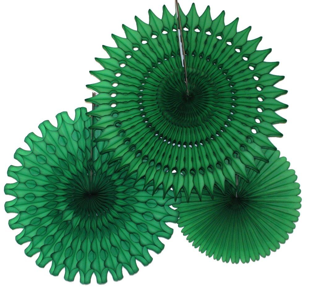 Hanging Honeycomb Tissue Fan, Dark Green, Set of 3 (13 inch, 18 inch, 21 inch)