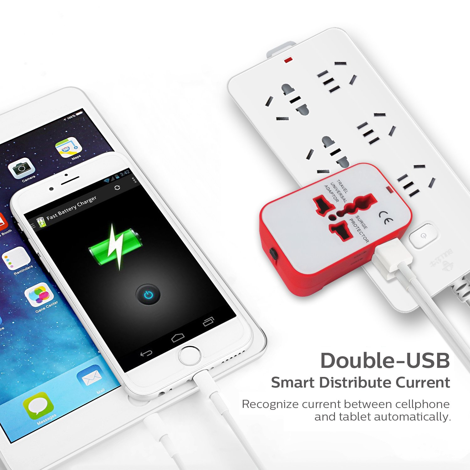 All in One International Universal Travel Adapter,Dual USB Charging Ports Converter for USA EU UK AUS European Compatible with Mobile Phone,Power Bank,Tablet,Laptop and Earphone. (Red) by LALAFO (Image #5)