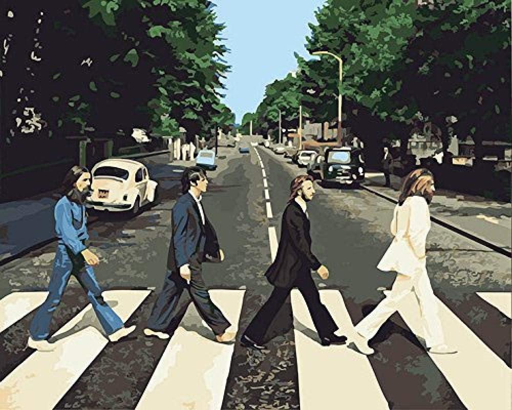 OILPHL Pintar por Números para Niños Street View, The Beatles BandRegalo para Amigo Pintura DIY No Frame 40X50Cm