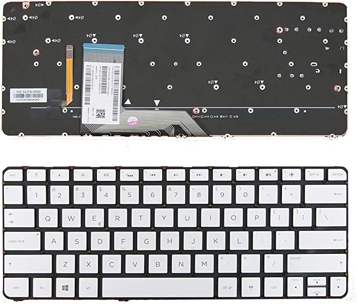 US English Keyboard for HP Spectre x360 13-4000 13-4100 13-4200 Silver (Without Frame, Backlit) US MP-13J73CHJ9202 Laptop Replacement Keypad