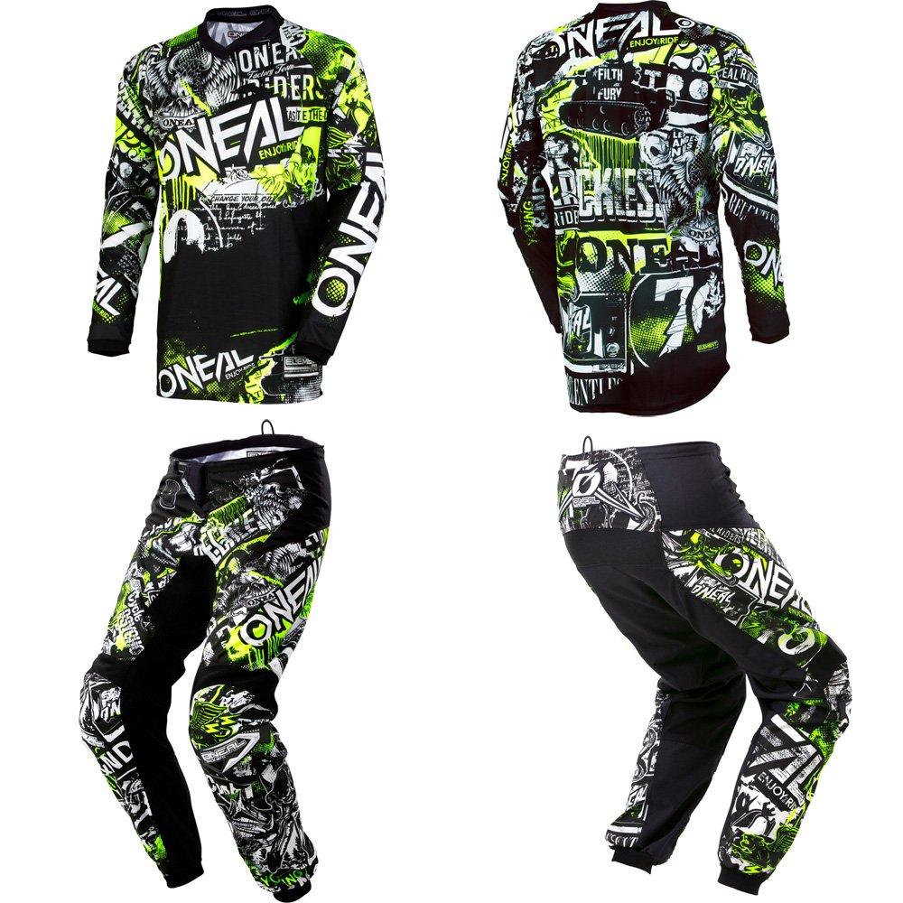 O'Neal Kids/Youth Element Attack Hi-Viz motocross MX off-road dirt bike Jersey Pants combo riding gear set (Pants Youth 28 (27) / Jersey Kids X-Large)