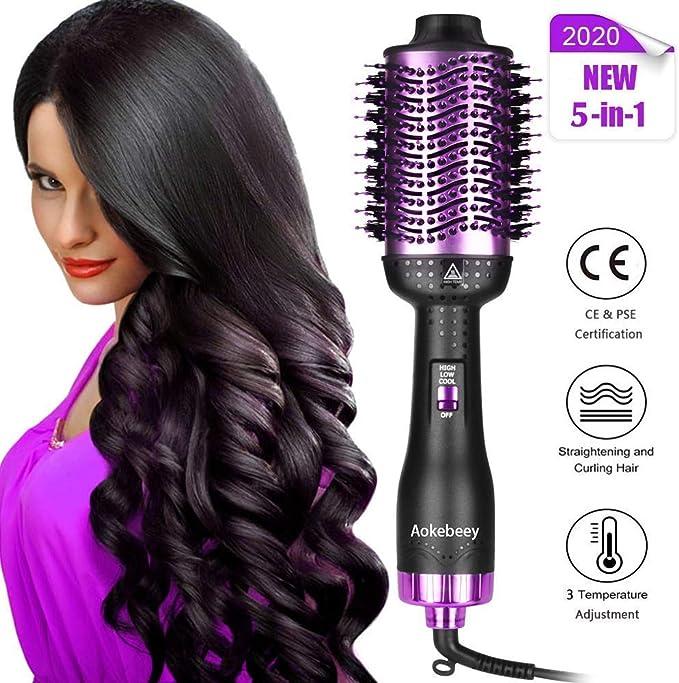 Aokebeey Brosse Soufflante, Multifonctionnels fer à friser,Seche Cheveux Volumateur Ionique, Brosse Lissante Chauffante et Friser Styler (Violet Noir)