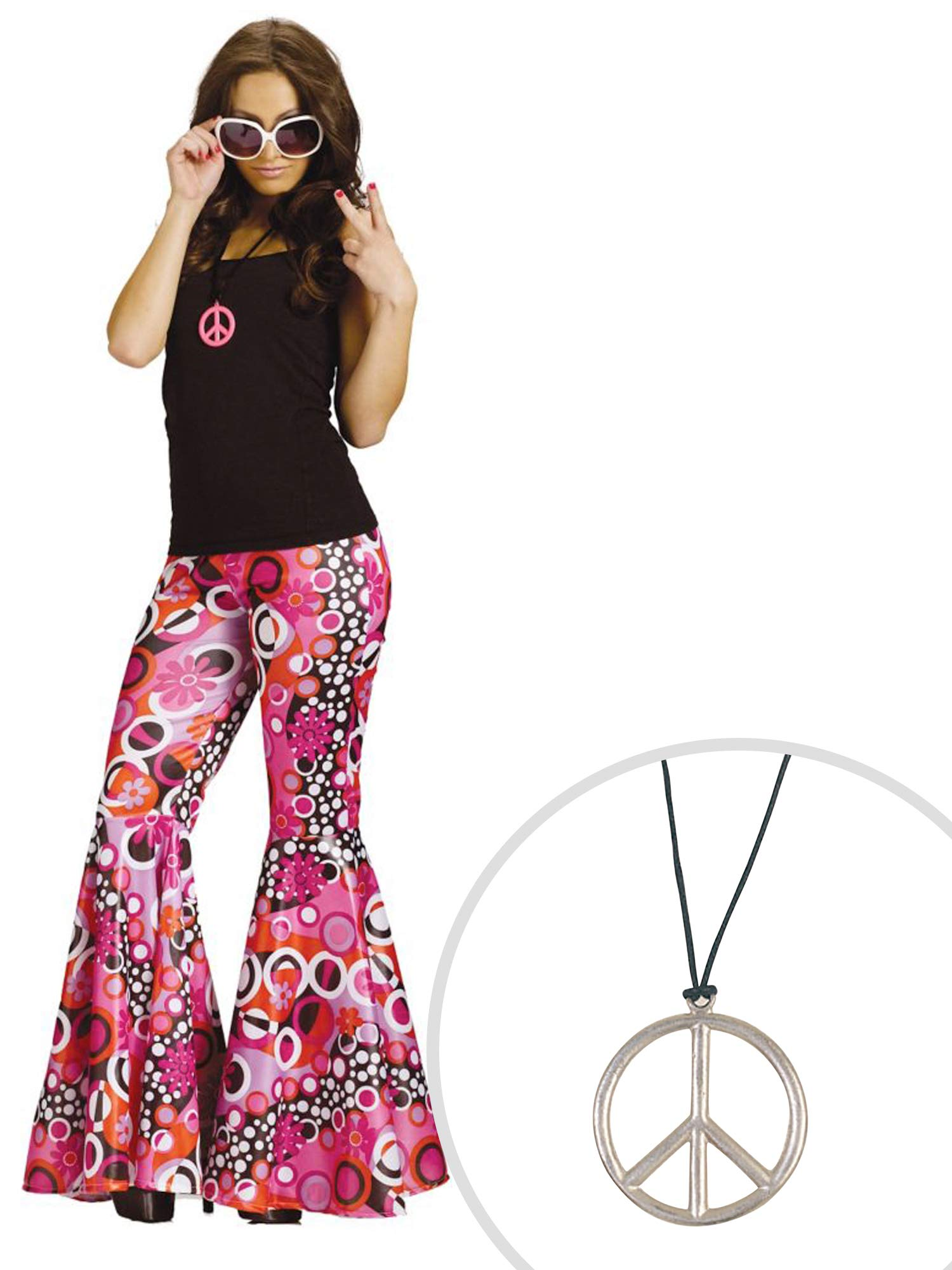 Flower Child Costume Kit Adult M/L Bell Bottoms with Peace Pendant Metal