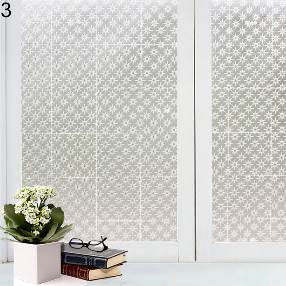 Decorative 3D Privacy Frosted Window Glass Film Sticker Waterproof Non-Adhesive Frosted Glass Door Decor Sticker for Office Privacy Home Bathroom Meeting Room Living Room (2#) BaoST