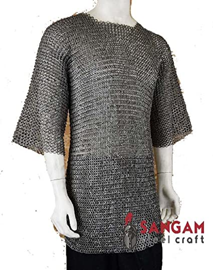 SANGAMSTEELCRAFT Half Sleeve Hubergion Shirt Flat Riveted with Flat Warser Chainmail Shirt 9 mm
