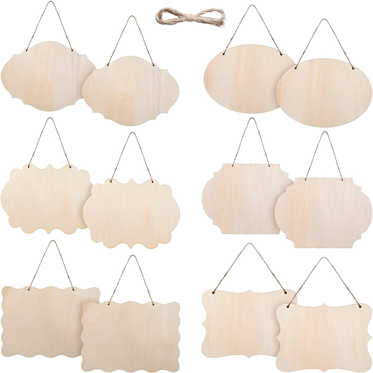 Jetec 12 Pieces Unfinished Hanging Wood Sign Rectangle Wood Blank Plaque Hanging Wood Sign with Rope for Pyrography, Painting, Writing, Decoration, DIY Craft, 6 Designs