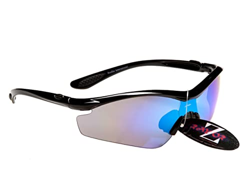 Professional Cycling Sunglasses for Men and Women by RayZor. Lightweight Biking Sports Wrap Eyewear. UV400 Outdoor Glasses. Anti Glare, Shatterproof, Protective Gun Metal Grey with a Blue Mirror Lens.