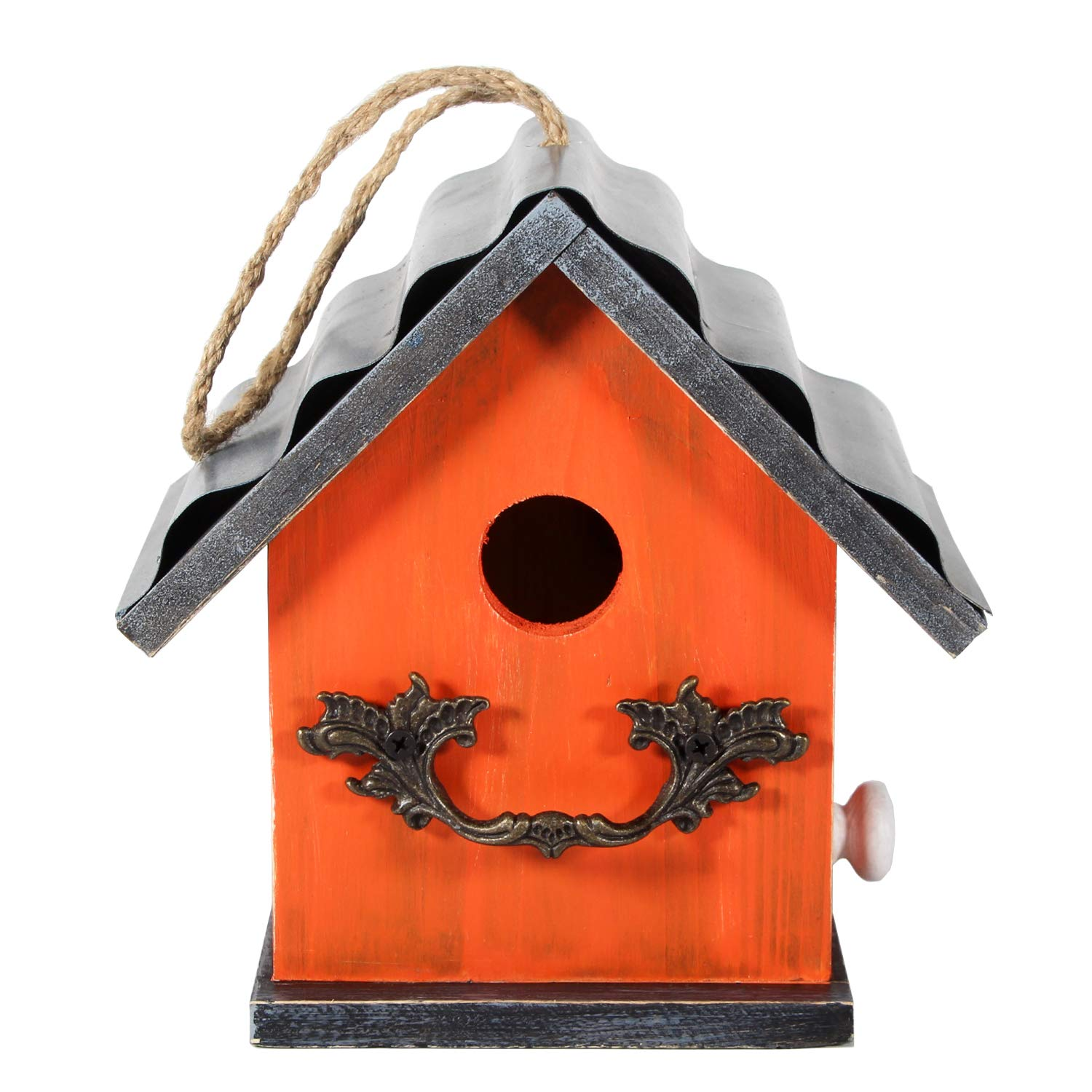 Tenforie Bird House for Outside, Resting Place for Birds, Hanging Natural Wooden Bird Nest, Bluebird House Handcrafted Hut (Orange)