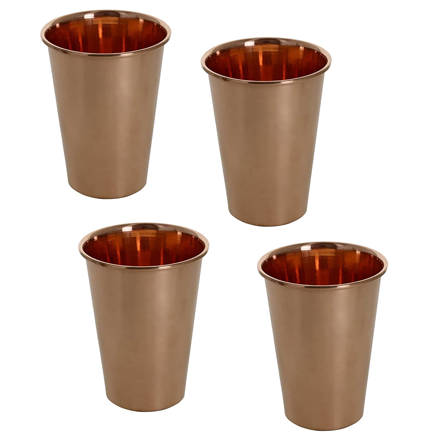 SKAVIJ Set of 4, Glasses Ayurvedic Product Indian Drinkware Cup Pure Copper Tumbler for Healing, Capacity 350 ML TG5_4