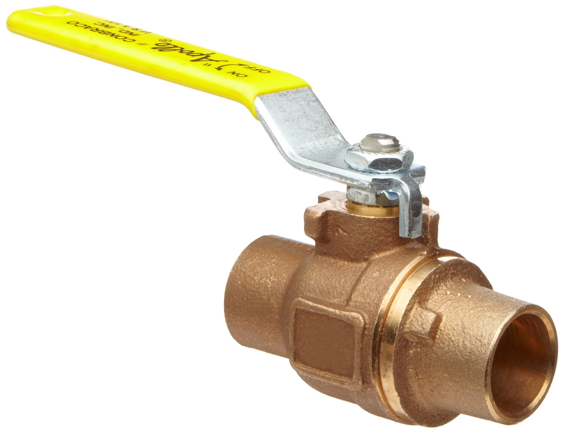 Apollo 77CLF-240 Series Bronze Ball Valve with Stainless Steel 316 Ball and Stem, Two Piece, Inline, Lever, 2-1/2'' Solder End