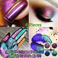 36Guidance 1/2/3/4PCS Chameleon Powder Nail Chrome Pigment Mirror Glitter Powder Premium Chrome Mirror Light Shade Shifting Pigments Eyeshadow for Face/Body/Nails