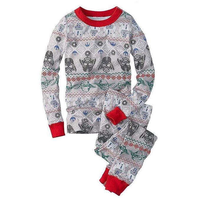 Hzjundasi Conjunto de Pijamas Familiares de Navidad Ropa de Dormir - Navidad Manga Larga Impresión Tops