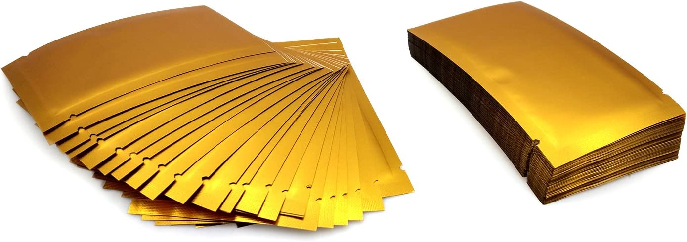 """Green FDA-Compliant Heat Seal Open-Top Single-Serving Mylar Packets 1.2x4.7/"""""""