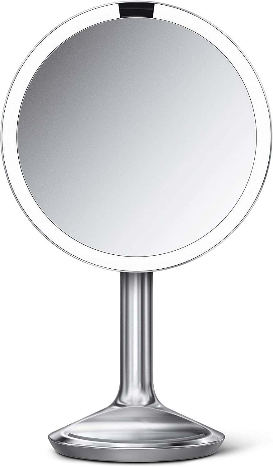 "simplehuman Sensor Lighted Makeup Vanity Mirror SE, 8"" Round, 5X Magnification, Brushed Stainless Steel"