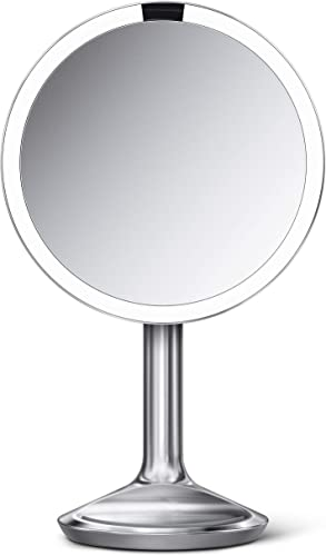 simplehuman Sensor Lighted Makeup Vanity Mirror SE, 8 Round, 5X Magnification, 20cm, Brushed Stainless Steel