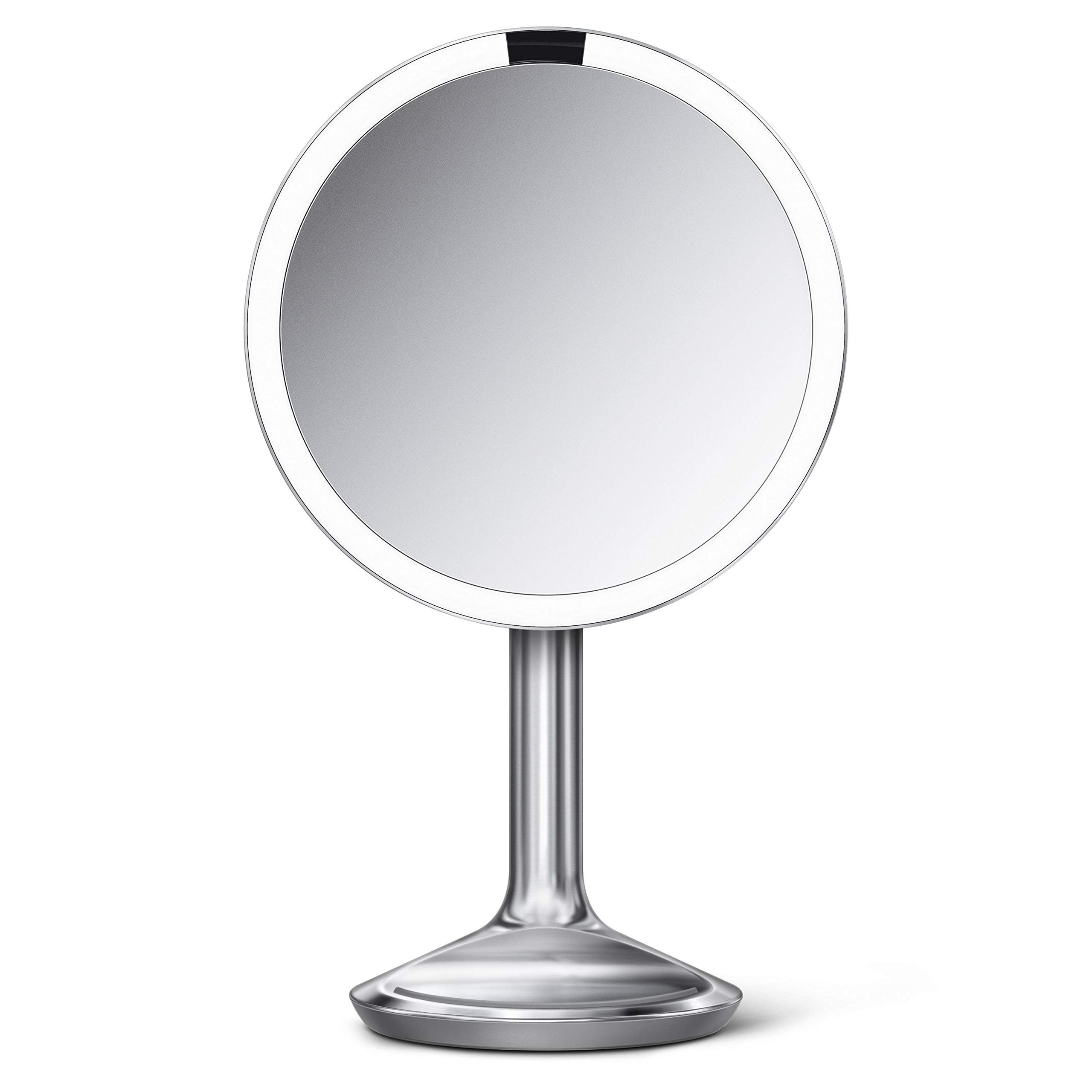 simplehuman Sensor Lighted Makeup Vanity Mirror SE, 8'' Round, 5X Magnification, Stainless Steel, Brushed by simplehuman