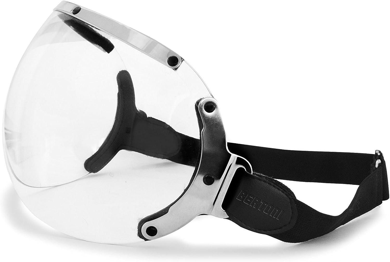 Visera para casco Jet - elastico regulable - perfil de acero cromo - Universal - Pantalla Casco by Bertoni