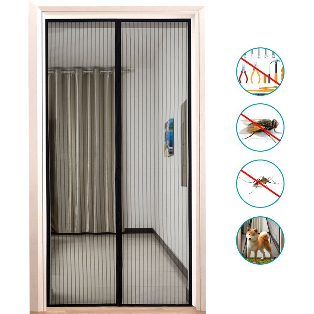 Screen Door, Binwo Magnetic Door Screen with Complete Full Frame Loop Fastener, Door Mesh No More Mosquitoes or Insects, Pets and Toddlers friendly & Instant Bug Mesh Fits Door Up to 34' x 82' (Black)