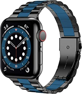 iiteeology Compatible with Apple Watch Band 40mm 38mm, Resin Stainless Steel Metal Link Wristbands for iWatch SE Series 6 5 4 3 2 1 - Black+Dark Blue
