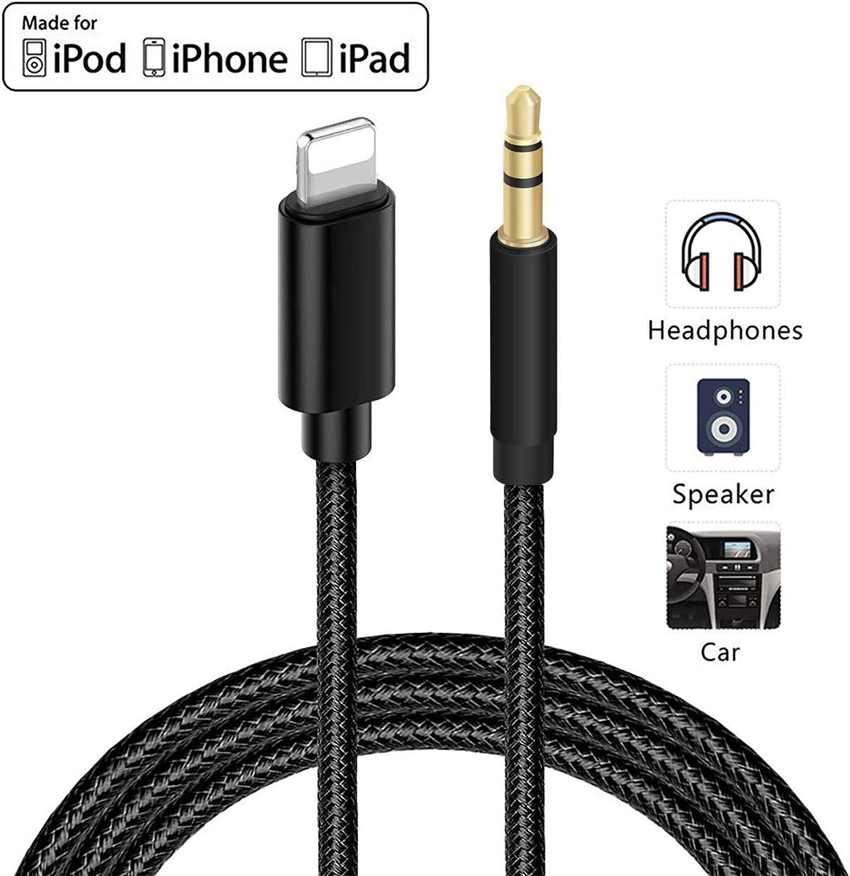 Aux Cord for iPhone 3.5mm 3-in-1 Aux Cord for iPhone Aux Cable for Car 3.5mm for iPhone 7//X//8//8 Plus//XS Max//XR//11//11 Pro to Car Stereo//Speaker//Headphone Adapter Support Newest iOS 11.3//13 Above