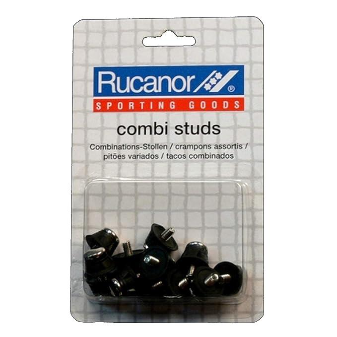 Rucanor - Tacos de punta metálica para botines de fútbol (Modelo Único/Negro)