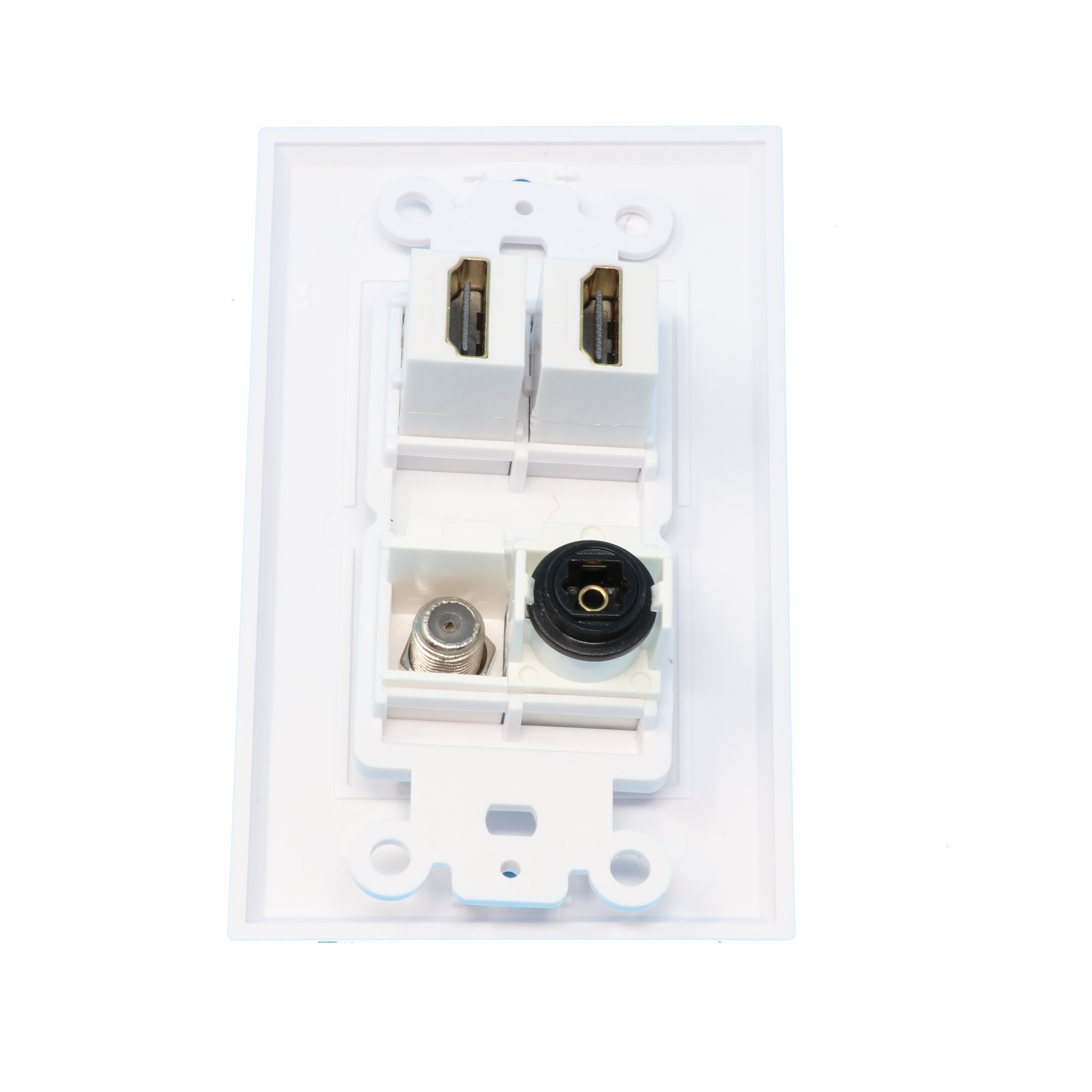 RiteAV - 2 Port HDMI 1 Port Coax Cable TV- F-Type 1 Port Toslink Wall Plate Decorative Wall Plate - White