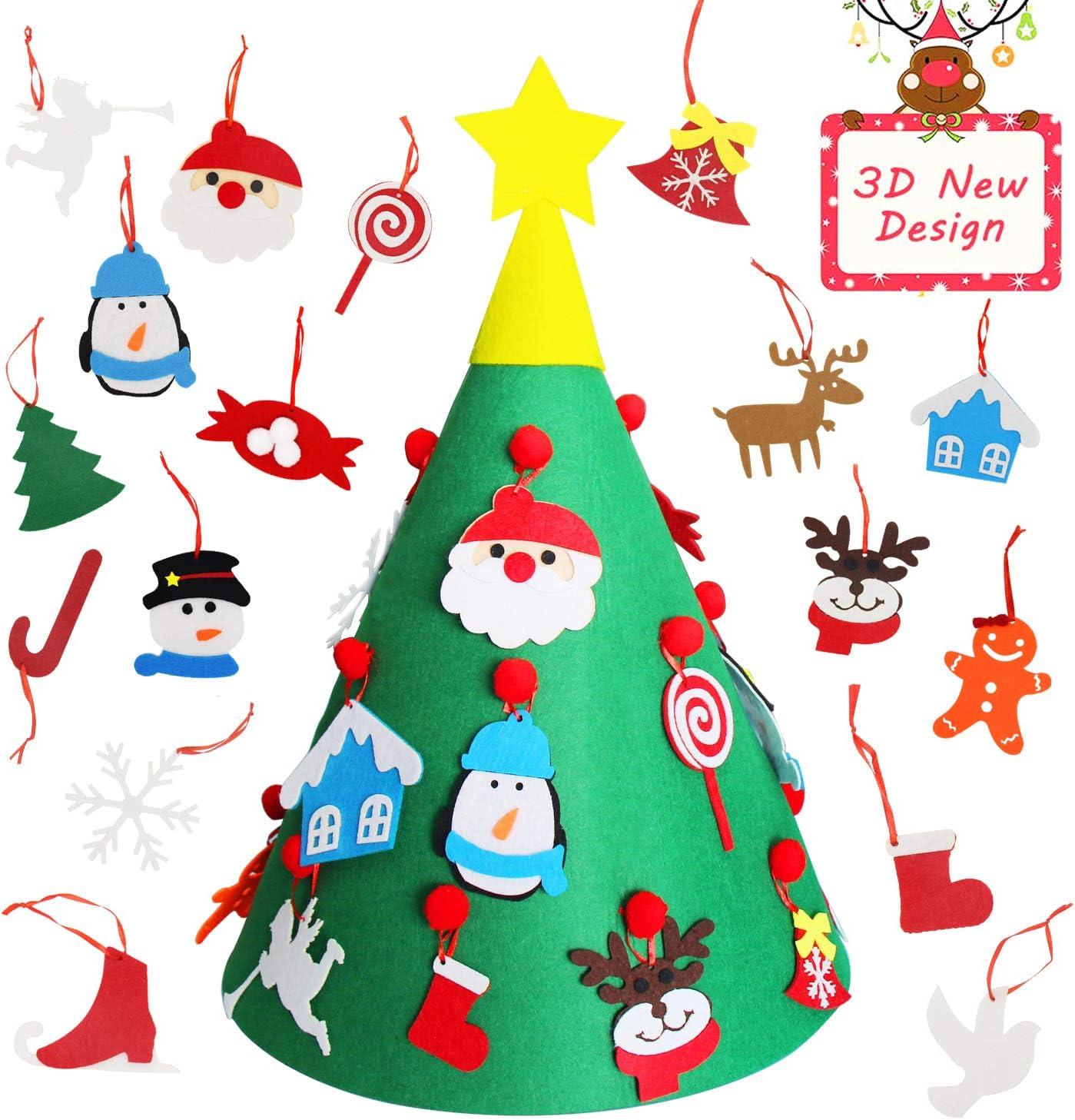 /ÁRbol de Navidad de Fieltro Decoraciones de Bricolaje Set con Adornos con Feliz Navidad Banner Pared Colgante 27 Piezas Ornamentos Desmontables Regalos de Navidad Para Los Ni/ñOs