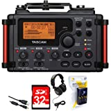 Tascam Portable Recorder for DSLR (DR-60DMKII) + 32GB SDHC Class 10 Memory Card + Closed-Back Headphones + AA Charger (100-240v) w/ 4 2950mah AA Batteries