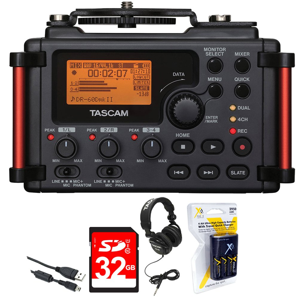 Tascam Portable Recorder for DSLR (DR-60DMKII) + 32GB SDHC Class 10 Memory Card + Closed-Back Headphones + AA Charger (100-240v) w/ 4 2950mah AA Batteries E1TSDR60DMKII