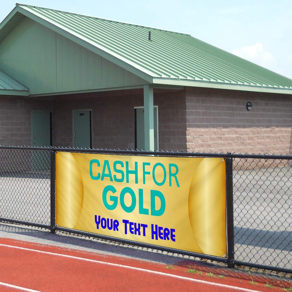 Custom Industrial Vinyl Banner Multiple Sizes Cash for Gold Style D Personalized Text Here Business Outdoor Weatherproof Yard Signs Gold 10 Grommets 56x140Inches
