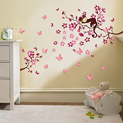 Adesivi Per Stanzette.Walplus Adesivi 3d Grandi Per Cameretta Dei Bambini Farfalle E Fiori Per Decorazione Murale Rosa