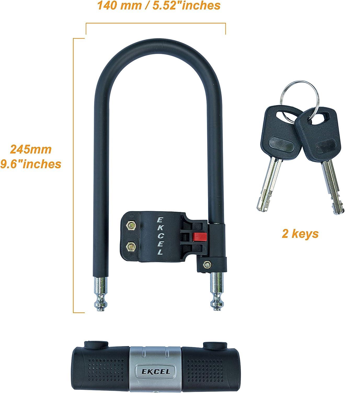Electric Bike Folding Bike Road Bike 14mm Heavy Duty Bike U Lock with U-Lock Shackle and 10mm x 1.2mm Cable with Mounting Bracket Anti-Theft Bicycle Lock for Mountain Bike Ekcel Bike Locks