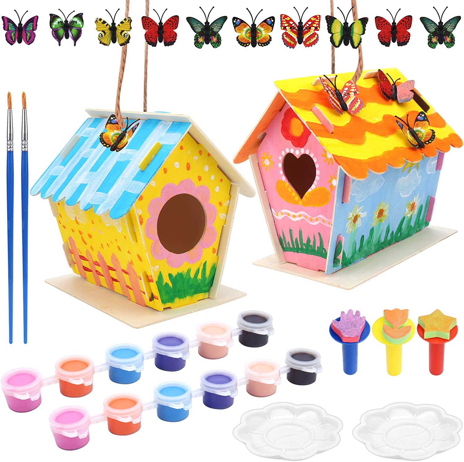 Mukum 21PCS Crafts for Kids Bird House Kit Arts and Crafts Wood DIY Build and Paint Birdhouse Kits for Kids to Build Wooden Bird House Crafts for Boys and Girls
