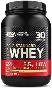 Optimum Nutrition Gold Standard 100% Whey Proteína en Polvo, Glutamina y Aminoácidos Naturales, BCAA, Crema de Vainilla Francesa, 30 Porciones, 900g, ...