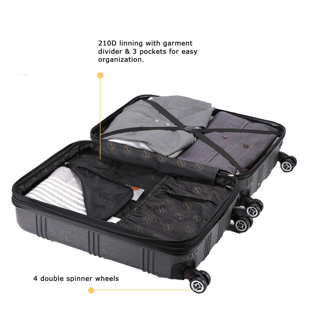 Expandable Spinner Luggage Set,TSA lightweight Hardside Luggage Sets, 20'' 24''28 inches Luggage (BLACK-1, 20 inches) by Travel Joy (Image #6)