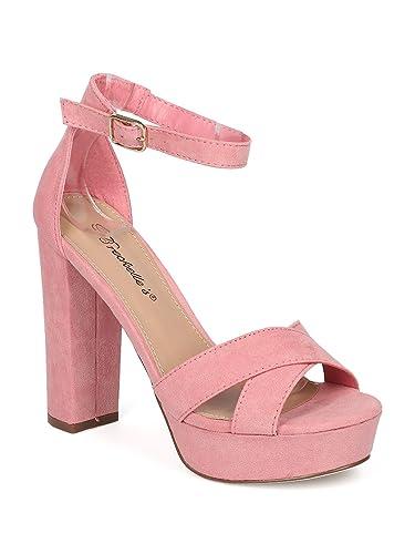 f590bfef531 Women Faux Suede Peep Toe Ankle Strap Block Heel Sandal HJ72