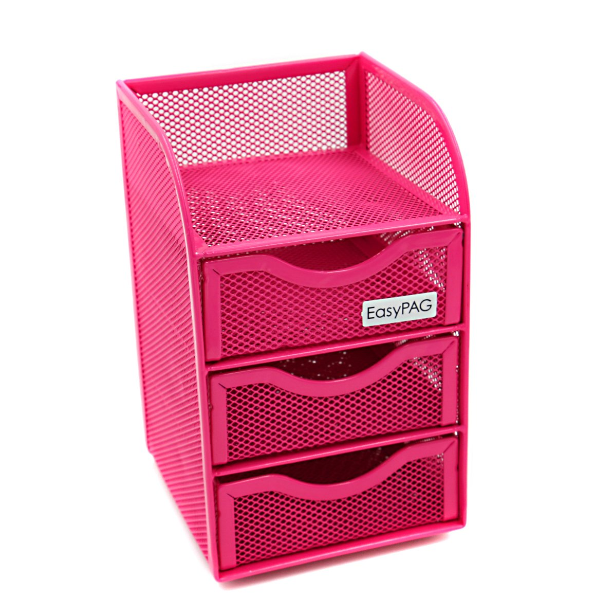 EasyPAG Mesh Desk Accessorie Organizer 3 Drawer Office Supplies Caddy, Pink by EasyPAG