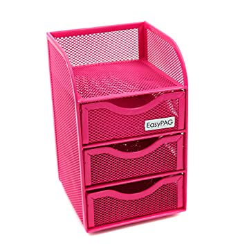 EasyPAG Mesh Desk Accessorie Organizer 3 Drawer Mini Hutch Office Supplies  Caddy , Pink