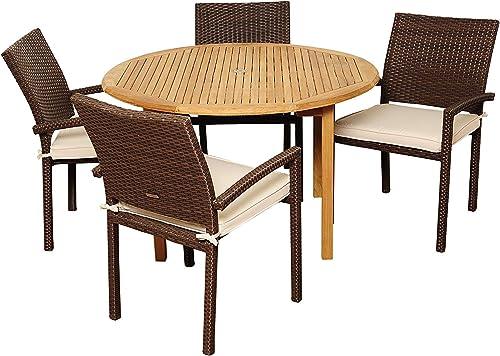 Amazonia Colorado 5-Piece Outdoor Round Table Dining Set