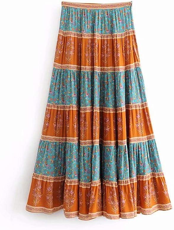 Mujer Faldas Moda de Verano Hippie Mujeres Costura Bohemio ...