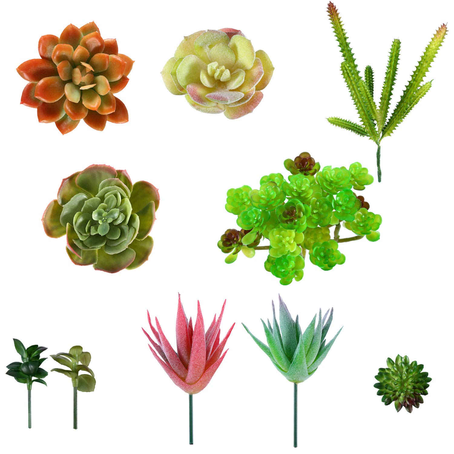 Beaspire Artificial Fake Succulent Plants 9 PCS Fake Plants Unpotted Faux Succulent Assorted for Indoor or Outdoor Decor, Office and Garden Arrangements Decoration