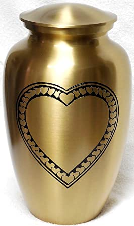 Ansons Urns Cremation Urn – Large Heart Funeral Urn for Human Ashes – Burial urn with Detailed Engraving – 100 Brass Gold