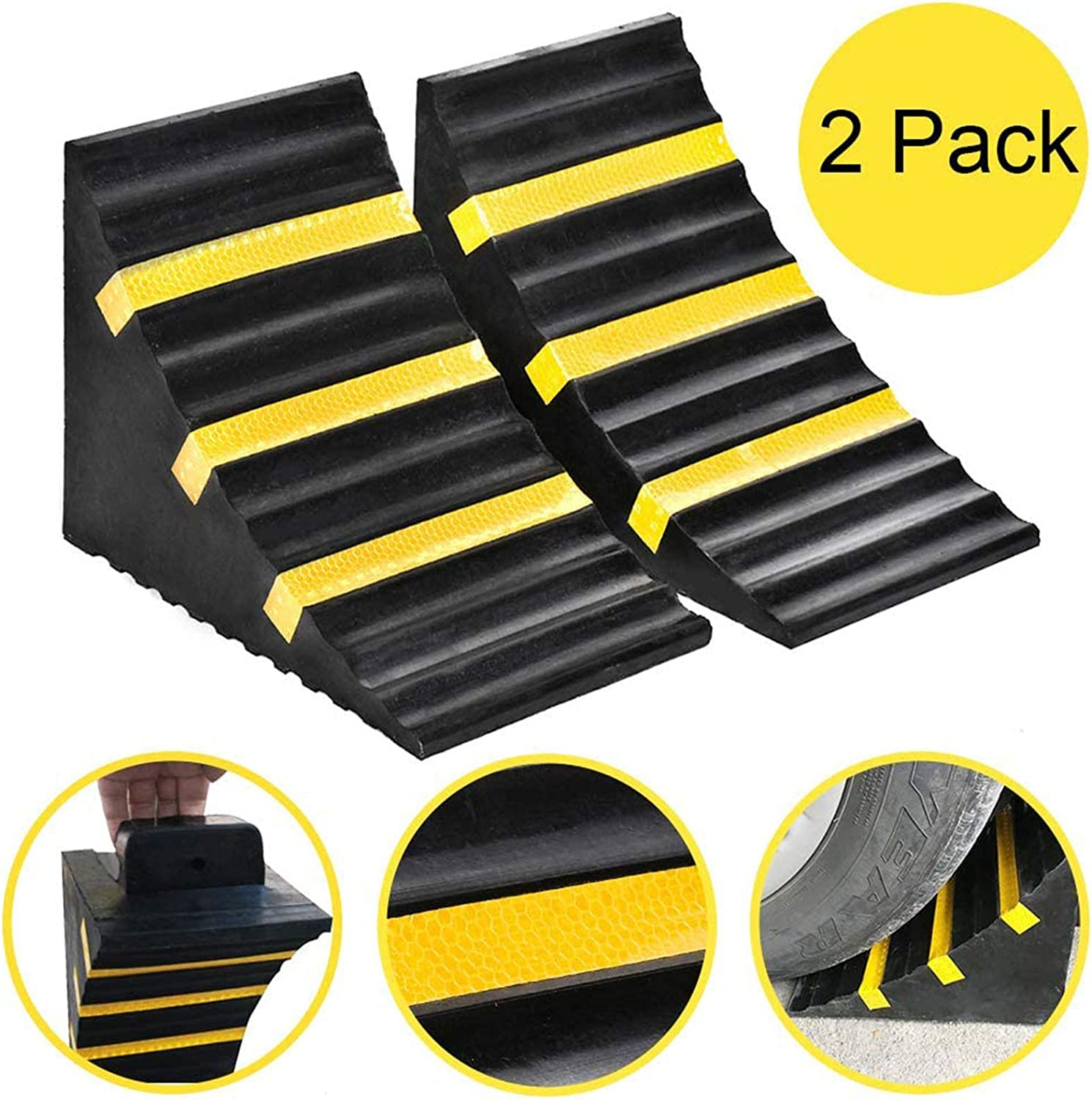 Car Truck 2-Pack RV Vehicle and RV Trailer Momotata Heavy Duty Rubber Wheel Tire Chock Front and Back for Camper