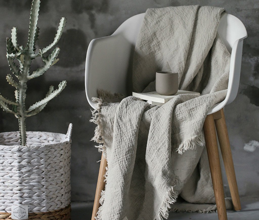 Image of Home and Kitchen Double woven linen blanket with self-tattered edges, linen throw blanket,Thick linen blanket, linen throw blanket, linen blanket covers, Sumptuous Soft, 59x80, 80x98, Machine Washable! FREE SHIPPING