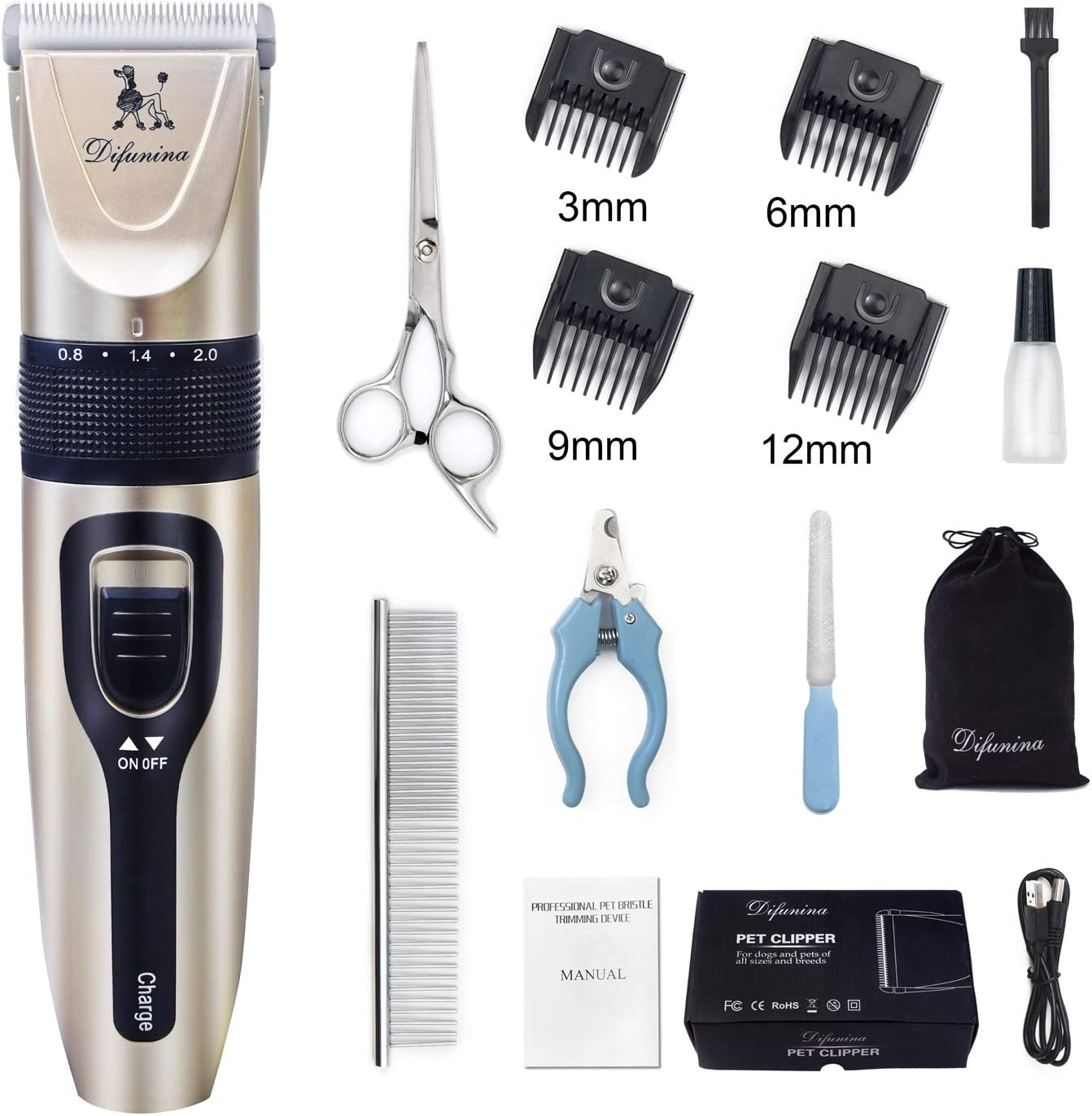 DIFUNINA Quiet Rechargeable Dogs Clippers Grooming Trimming Kit Set with Long Life Battery Use and Portable Vevet Pouch for Free for Small Middle Large Dogs and Cats Pets - Gold