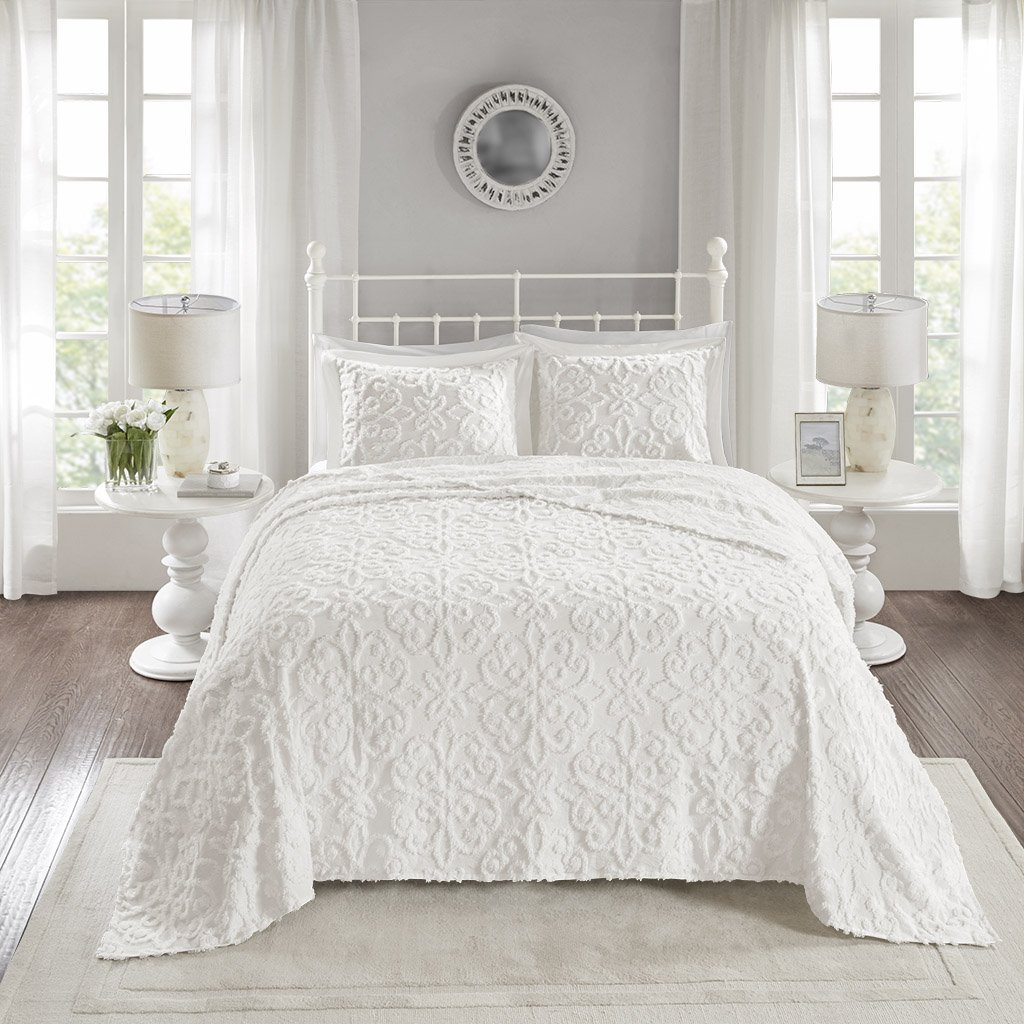 California King Chenille Bedspreads.Madison Park Sabrina 3 Piece Tufted Cotton Chenille Quilt Set Coverlet Bedding King Cal King Medallion Embroidery White