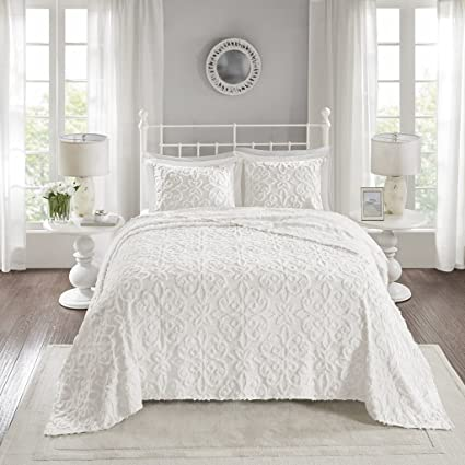 Madison Park Sabrina 3 Piece Tufted Cotton Chenille Bedspread Set White King Cal King