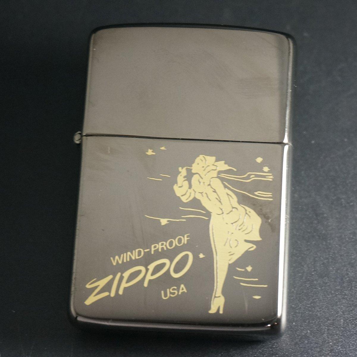 zippo WINDY ブラックニッケル 金入れ 1985年製造 B076MSP59N