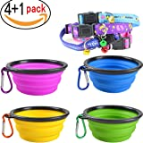 Widhbndxsf Collapsible Pet Bowl , Food Grade Silicone, BPA Free, , Foldable Expandable Cup Dish for Pet Dog, Cat Food Water Feeding Portable Travel Bowl Free Carabiner ,(4Pack )